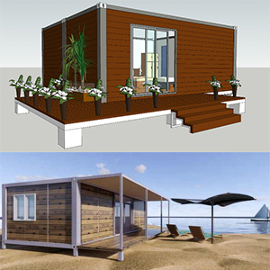 Container house with PU metal panels